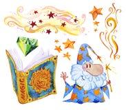Akwareli artystyczna kolekcja magiczna ręka rysujący elementy odizolowywający na białym tle ilustracji