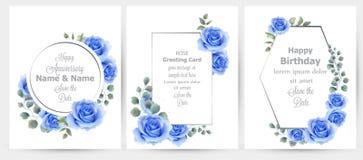 Akwareli błękita róża kwitnie karta ustawiającego inkasowego wektor Rocznik kartka z pozdrowieniami, ślubny zaproszenie, dziękuje royalty ilustracja