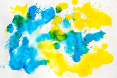 Akwareli błękitny żółty abstrakcjonistyczny tło Zdjęcia Royalty Free