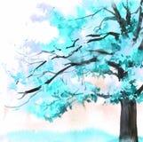 Akwareli błękitny piękny drzewo Wręcza patroszoną ilustrację dla karty, pocztówka, pokrywa, zaproszenie, tkanina ilustracja wektor