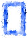 Akwareli błękitny rama Biel inside Obrazy Royalty Free