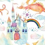 Akwareli bajki bezszwowy wzór z ślicznym smokiem, magia kasztelem, górami i czarodziejką, chmurnieje royalty ilustracja