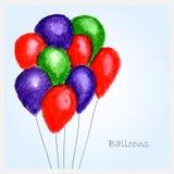 Akwareli ballons Obrazy Stock