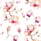 Akwareli bezszwowa tapeta z magnoliowymi kwiatami, liście royalty ilustracja