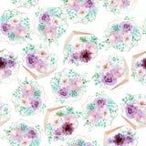 Akwareli bezszwowy kwiecisty tło w świetle purpura i nowi zieleni kolory - Zdjęcia Royalty Free