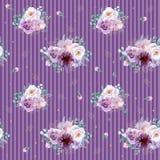 Akwareli bezszwowy kwiecisty tło w purpurach i nowych zielonych kolorach Fotografia Royalty Free