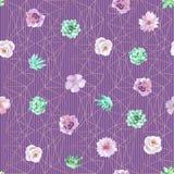 Akwareli bezszwowy kwiecisty tło w purpurach i nowych zielonych kolorach Obrazy Stock