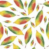 Akwareli bezszwowy tło od jesień liści ilustracji