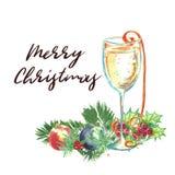 Akwareli boże narodzenia ilustracyjni Szkło szampan, confett Obraz Royalty Free