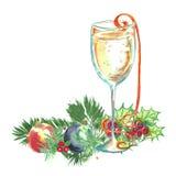 Akwareli boże narodzenia ilustracyjni Szkło szampan, confett zdjęcie stock