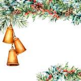 Akwareli Bożenarodzeniowa kwiecista karta z dzwon girlandą Wręcza gałąź, jagody i liście eukaliptusa i jodły, sosna royalty ilustracja