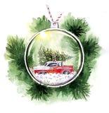 Akwareli Bożenarodzeniowego card_ choinki szklana zabawka royalty ilustracja