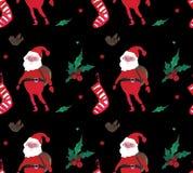 Akwareli Bożenarodzeniowych ilustracji bezszwowy wzór z klauzula, skarpetami i jagodami Santa, Zima nowego roku temat ilustracja wektor