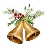 Akwareli bożych narodzeń dzwon z choinki gałąź, jemiołą i holly wystrojem, Złociści dzwony z tradycyjnym wystrojem ilustracji