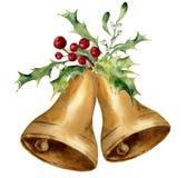 Akwareli bożych narodzeń dzwon z jemioły i holly wystrojem Złociści dzwony z tradycyjnym wystrojem odizolowywającym na białym tle ilustracja wektor