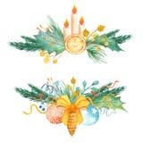Akwareli bożych narodzeń skład Bukiet z jodłą rozgałęzia się, jagody, prezenty, piłki, łęk royalty ilustracja