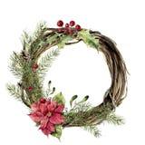 Akwareli bożych narodzeń wianek z wystrojem Nowego roku drzewo i drewno gałęziasty wianek z holly, jemiołą i poinsecją dla, royalty ilustracja