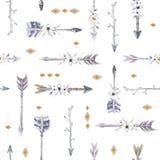 Akwareli boho bezszwowy wzór z teepee, strzała i piórkiem, ilustracji