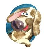 Akwareli brązu pies jest uśmiechnięty przy okno Obrazy Stock