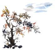 Akwareli chmury i drzewo royalty ilustracja
