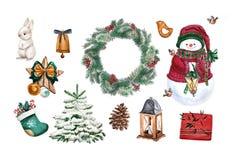 Akwareli choinki wirh królik, lampa, bałwan, wianek i prezent, Set Wakacyjny dekoracja druku projekta szablon Handdrawn royalty ilustracja