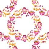 Akwareli cranberry babeczek, jagod i cukierków akwareli ilustraci wzór na białym tle, zdjęcia royalty free