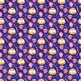 Akwareli cranberry babeczki i herbacianej akwareli ilustracyjny bezszwowy wzór zdjęcie stock
