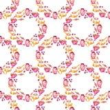 Akwareli cranberry babeczki i herbacianej akwareli ilustracyjny bezszwowy wzór fotografia royalty free