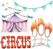 Akwareli cyrkowy ustawiający z ręka rysującymi elementami: girlanda flaga, ogieni pierścionki i cyrkowy namiot, Zdjęcia Royalty Free