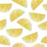 Akwareli cytryny bezszwowy deseniowy plasterek ilustracji