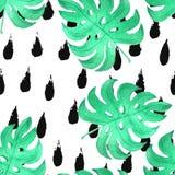 Akwareli dżungli liścia bezszwowi wzory Obrazy Royalty Free