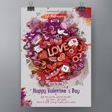 Akwareli Doodle walentynek dnia wektorowa ręka rysujący Szczęśliwy plakatowy projekt Fotografia Stock