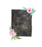 Akwareli drewniane deski z kwiatami i liśćmi Obraz Royalty Free