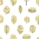Akwareli drzew bezszwowy wzór na białym tle Obraz Royalty Free