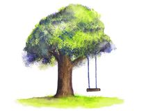 Akwareli drzewa huśtawka na białym tle ilustracja wektor