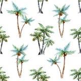 Akwareli drzewek palmowych wzór Obrazy Royalty Free