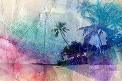 Akwareli drzewka palmowe i denny brzeg Obrazy Stock