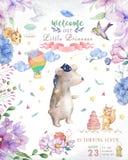 Akwareli dziecka śliczny niedźwiedź z kwiatami i kwiecistych bukietów urodziny setem światła i boho Kreskówki klamerki sztuka dla royalty ilustracja