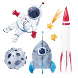 Akwareli dziecka astronautycznego wektoru set Fotografia Royalty Free