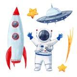 Akwareli dziecka astronautycznego wektoru set Zdjęcia Royalty Free