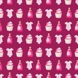 Akwareli dziecka prysznic wzór Różowi baloons, dziecko butelka i tort, Dla projekta, druku lub tła, Obrazy Stock