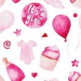 Akwareli dziecka prysznic wzór Różowi baloons, dziecko butelka i tort, Dla projekta, druku lub tła, Fotografia Stock