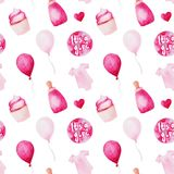 Akwareli dziecka prysznic wzór Różowi baloons, dziecko butelka i tort, Dla projekta, druku lub tła, Obrazy Royalty Free