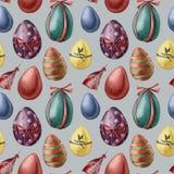 Akwareli Easter jajka i piórko wzór Ręka malował barwionych jajka z wystrojem odizolowywającym na błękitnym tle wakacje ilustracja wektor