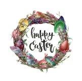 Akwareli Easter karta z jajkami, kwiatami i literowaniem, Wręcza malującą ilustrację z wierzbą, tulipanem, piórkiem i drzewem, ilustracji