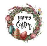 Akwareli Easter karta z motylem, kwiatami i literowaniem, Wręcza malującą ilustrację z wierzbą, tulipan, lawenda ilustracja wektor