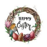 Akwareli Easter karta z rudzikiem, kwiatami i literowaniem, Wręcza malującą ilustrację z wierzbą, tulipanem, jajkami i drzewem, ilustracji