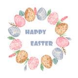 Akwareli Easter wianek z jajkami i kwiatami royalty ilustracja