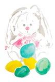 Akwareli Easter zabawkarski królik Zdjęcie Stock