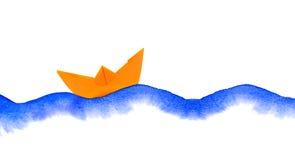 Akwareli falowa i papierowa łódź Zdjęcia Stock